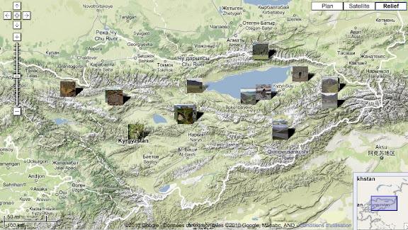 Localisation des photos en Kirghizie. À l'ouest : Alabel Pass, Kekemeren, et le Baybiche Tau. Au nord : Kyzyl Aksuu. À l'est : Karakol, la Chon Ashuu Pass et le confluent des rivières Ottuk et Sary Dhzaz. Au sud-est : Kara Say. Au centre (et de l'ouest vers l'est) : la Dolon Pass, Kadzi-Say et Barskoon (rives sud de l'Issyk-kul).