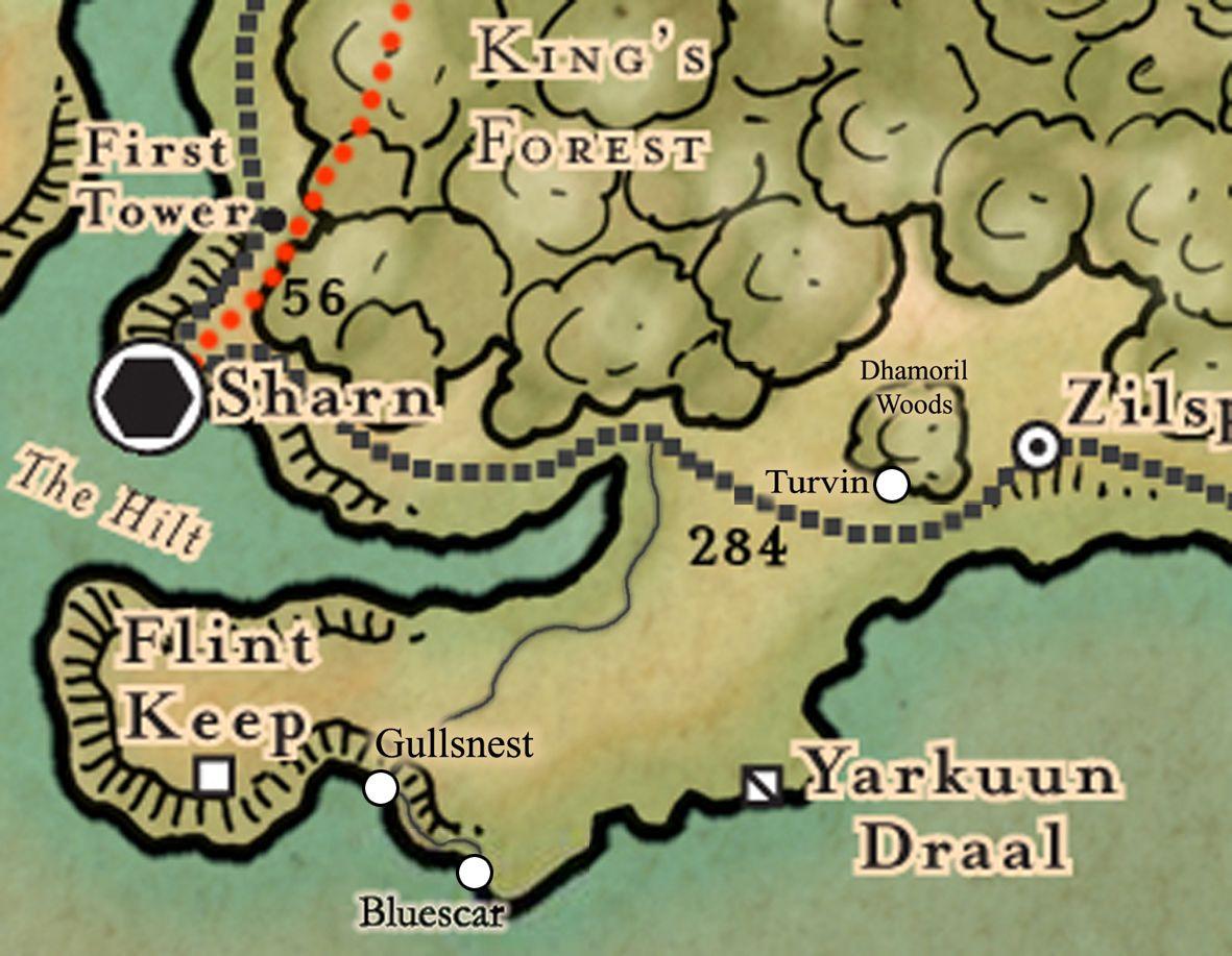 Et utsnitt av Breland, visende Zilspar nede til høyre, slik det er lokalisert i Eberron.