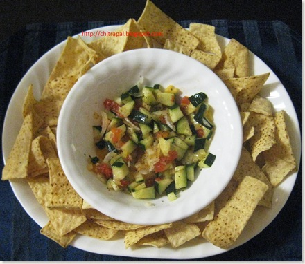 Chitra Pal Nachos and Cucumber Salsa