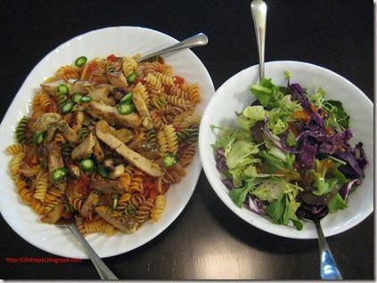 Chitra Pal Chicken Pasta and Green Salad