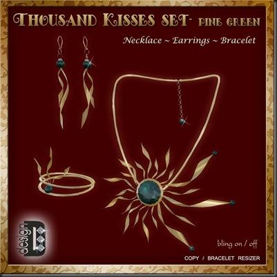 Thousand Kisses Pine Green set'