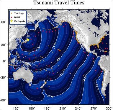Mapa de la ola del Tsunami