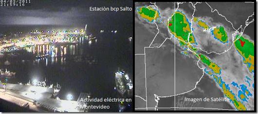 Tormenta electrica en el Rio de la Plata Sat y camara (4/4/11)