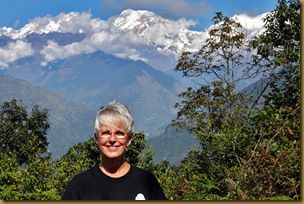 Barbara Weibel in Puma Nepal, with Himalayas in background