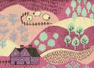 pink Japanese landscape print