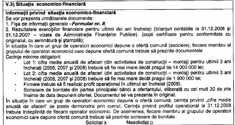 Facsimil din dosarul de licitaţie cu cerinţa privind cifra medie de afaceri