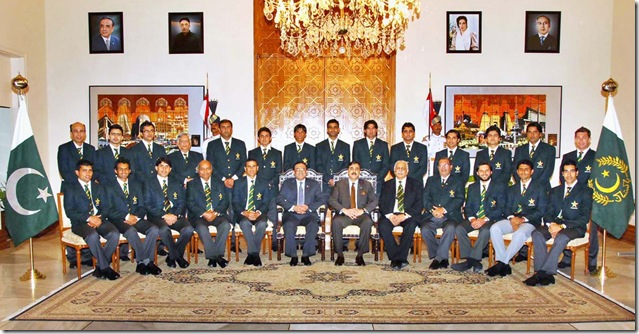 June 25 – A group photograph of President Asif Ali Zardari with T-20 World Cup winning Pakistani Cricket Team at Aiwan-e-Sadr.