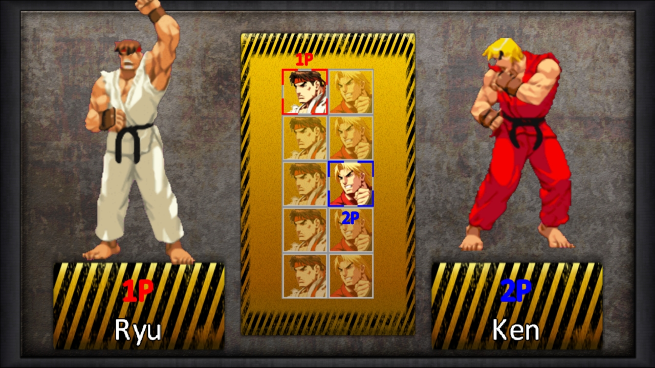 The characters selection screen