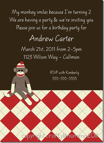 sock monkey invite