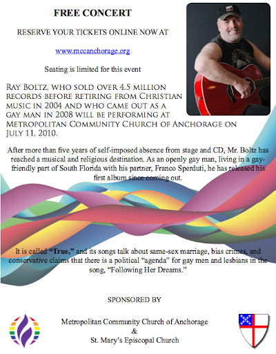 Ray Boltz is performing in Anchorage on July 11 ? and the concert is FREE!