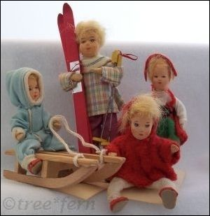 Erna Meyer dollhouse dolls Germany 1945 to 1970s (per cardboard-bottomed shoes); painted stockinette faces, felt clothing, cloth dolls with wire armature, sledding and skiing dolls