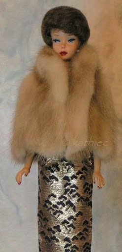Mattel Barbie doll brownette bubblecut mink jacket stole Sears Exclusive Lame Lamé Sheath Fashion Pak 1960s
