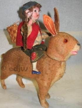 Antique bisque doll rare German Germany candy container SPBH Schoenau & Hoffmeister papier-mâché rabbit 1900s