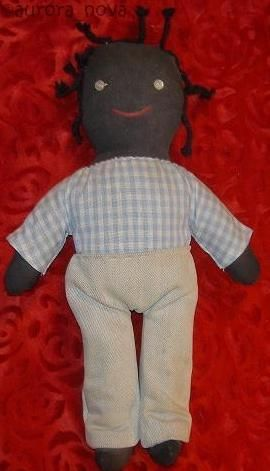 Cloth doll black African-American vintage homemade