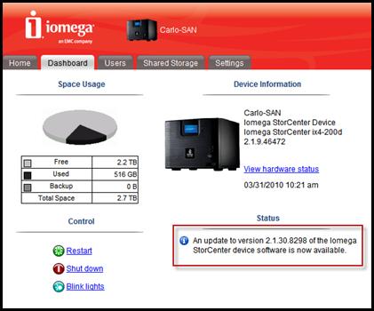 Update to the Iomega StorCenter ix4-200D : v2.1.30.8298