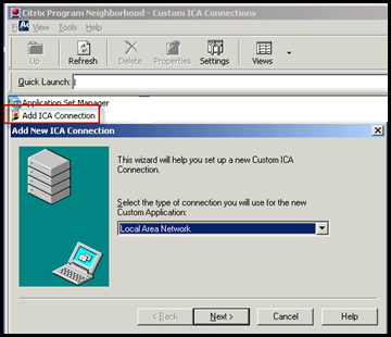 How to create a Custom ICA connection to a XenApp Server Console 0