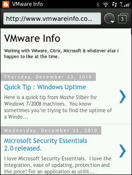 VMwareinfo.com on the Blackberry