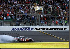 2010 Kansas Oct NNS Joey Logano victory burnout
