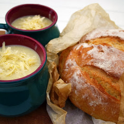 Roasted Cauliflower Cheese And Corn Soup With Crusty Bread