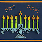 Quilling card with Hanukkah Menorah