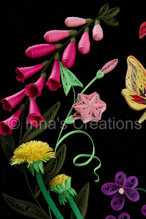 Quilled foxgloves and dandelions