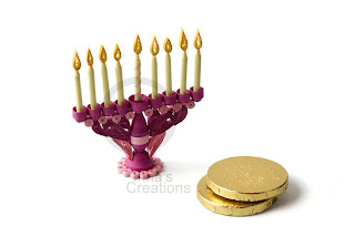 Tiny quilled Hanukkah Menorah with candles
