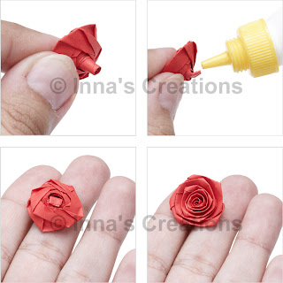Folded rose, steps 9-12