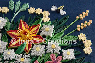 Detail, quilled bee and flowers