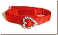 red bra strap with crystal heart