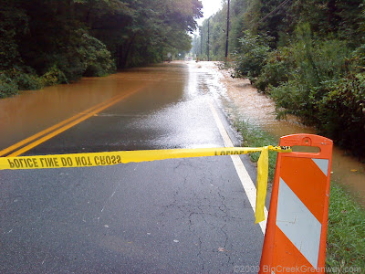 Big Creek Flooding over Kimball Bridge in Alpharetta