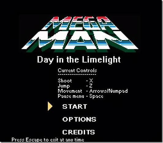Megaman Day in the Limelight free fan game (title)