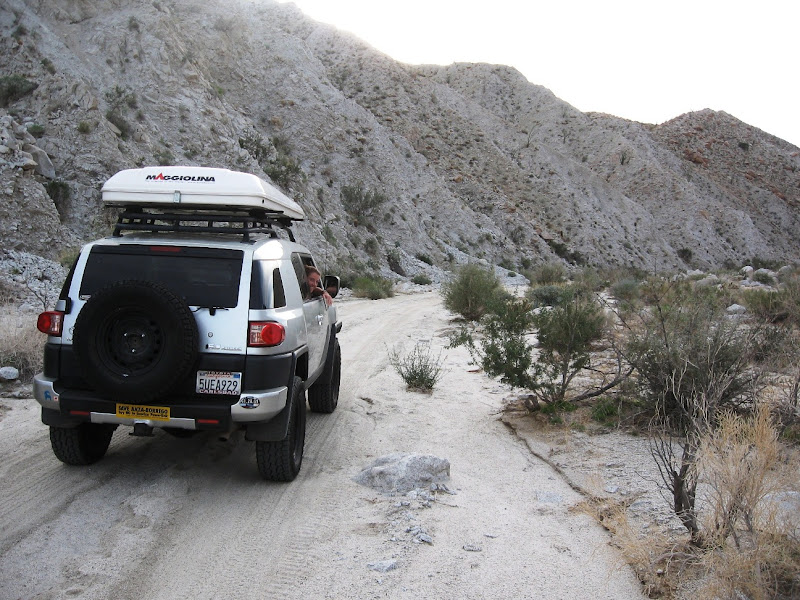 Driving the FJ Cruiser into Indian Gorge - Anza Borrego