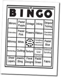shabby chic bingo card