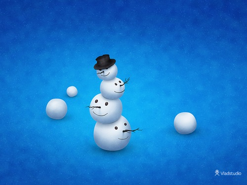 Christmas Snow Man Illustrated Wallpaper