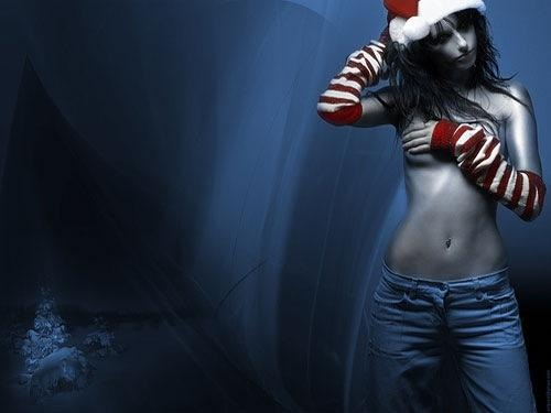 Sexy Model Christmas Desktop Wallpaper