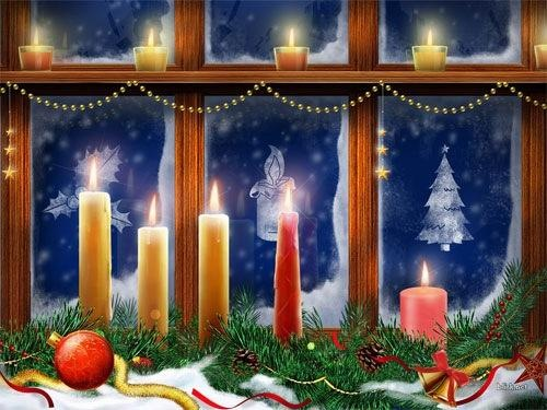 Christmas Candles Desktop Wallpaper