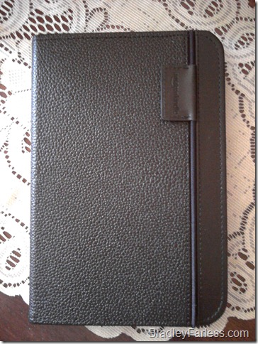 The Kindle 3 in Amazon's official leather cover.