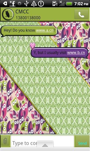 GO SMS THEME Good Luck Owels