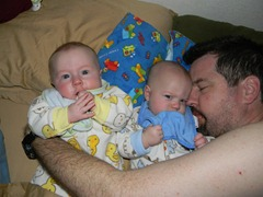 Dean, Daniel & Daddy in bed. Danny clearly doesn't want to be bothered!