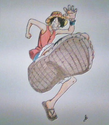 Luffy, Fan Art de One Piece por Dolores Hernández