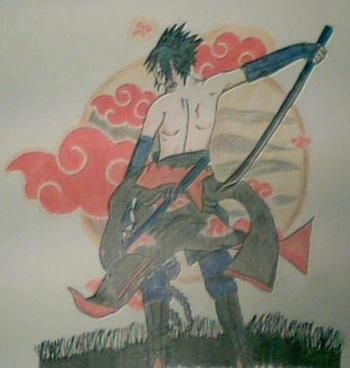 Uchiha Sasuke, Fan Art de Naruto por Dolores Hernández