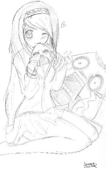 Las bolas de arroz también tienen sentimientos, dibujo de Laura S.Q.