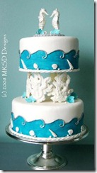 Seahorses and Coral Blue Beach Themed Wedding Cakes