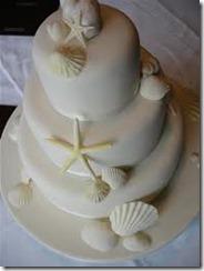 Shells and Starfish on Beach Theme Wedding Cake