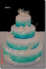 Blue Beach Theme Wedding Cakes with Coral and Starfish