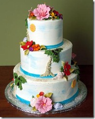 Tropical Wedding Cakes with Flowers and Palm Trees