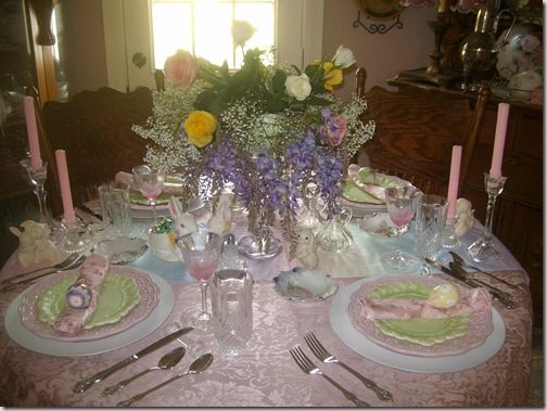 I started with a pink damask tablecloth. Over it I layered a pretty pastel runner that I found at a thrift store. Lots of little bunnies are scattered ... & Moonlight Dreams...: Easter Table Setting