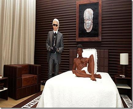 lagerfelde e escultura de chocolate de Baptiste Giabiconi