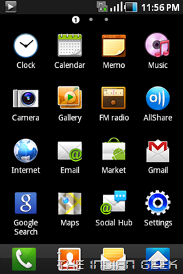 Samsung Galaxy Ace S5830 screenshot - TouchWiz App Drawer
