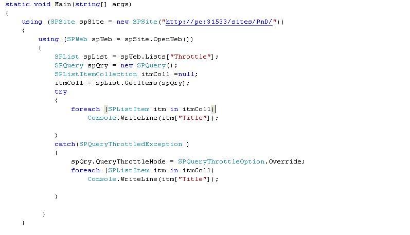 Throttling code MOSS 2010